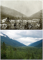 KLGO Photo Station CH-03: Canyon City, View to the south toward Dyea of trees and shrubs along the Taiya River channel and valley bottom near Canyon City, Klondike Gold Rush National Historical Park, Alaska, United States. Upper photo was take in 1897 by Frank La Roche (Klondike Gold Rush National Historical Park, La Roche Album). The lower photo was taken August 18, 2013 by Ronald D. Karpilo Jr. (Karpilo #20130818-00355).