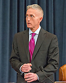 United States Representative Trey Gowdy (Republican of South Carolina), Chairman, US House Select Committee on Benghazi, prior to receiving testimony from former US Secretary of State Hillary Rodham Clinton, a candidate for the 2016 Democratic Party nomination for President of the United States, on Capitol Hill in Washington, DC on Thursday, October 22, 2015.<br /> Credit: Ron Sachs / CNP