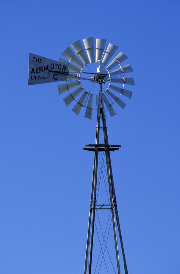 Windmill in blue sky, Palouse area, Washington.