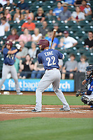 ***Temporary Unedited Reference File***Frisco RoughRiders left fielder Zach Cone (22) during a game against the Corpus Christi Hooks on April 23, 2016 at Whataburger Field in Corpus Christi, Texas.  Corpus Christi defeated Frisco 3-2.  (Mike Janes/Four Seam Images)