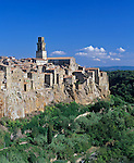 Tuscany, Italy<br /> Village of Pitigliano perched on a rock cliff in southern Tuscany
