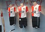 Replica football shirts of Feyenoord FC on display in shop window, Rotterdam, Netherlands