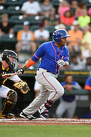 St. Lucie Mets first baseman Dominic Smith (22) at bat during a game against the Bradenton Marauders on April 11, 2015 at McKechnie Field in Bradenton, Florida.  St. Lucie defeated Bradenton 3-2.  (Mike Janes/Four Seam Images)