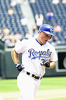 Royals left fielder Brandon Berger homers in the fifth inning against the Chicago White Sox at Kauffman Stadium in Kansas City, Missouri on July 18, 2002.  Kansas City won 5-3.
