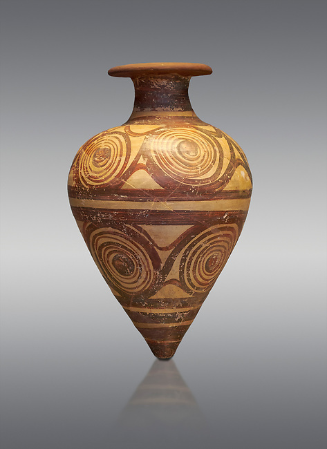 Mycenaean ovoid rhython with spiral design , Grave II, Grave Circle A, Mycenae 16-15 Cent BC. National Archaeological Museum Athens. Cat No 221.  Grey Background