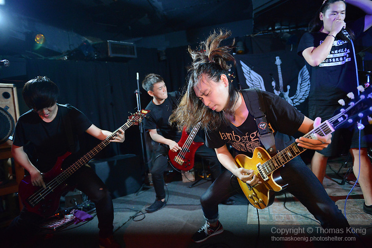Rocks, Kaohsiung -- Metalcore band BREAK POINT performing on stage at the Rocks during the 月來樂搖滾 show in June 2014.