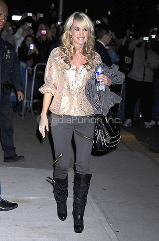 Carrie Underwood at the Ed Sullivan Theater for an appearance on Late Show with David Letterman in New York City. November 2, 2009. Credit: Dennis Van Tine/MediaPunch