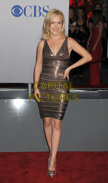 Angela Kinsey.People's Choice Awards 2012 held at Nokia Live in Los Angeles, California, USA..January 11th, 2012.full length dress hand on hip sequins sequined beige brown .CAP/ROT/TM.©Tony Michaels/Roth Stock/Capital Pictures