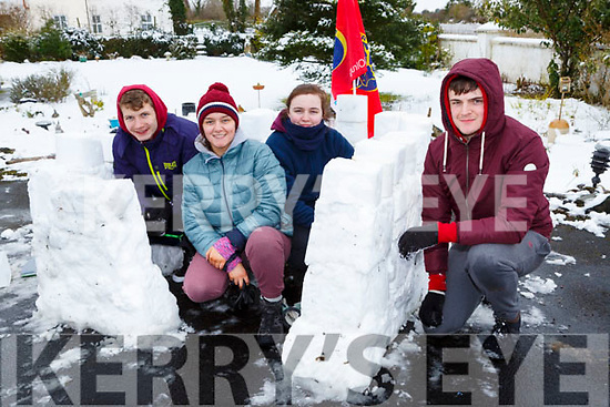 Inventive Nathan, Molly, Maggie and Moss O'Callaghan Kilfilem, Currans built a snow castle Friday morning