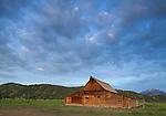 Grand Teton National Park, Wyoming: <br /> Summer morning light on the T.A. Moulton barn at Mormon Row - Antelope Flats
