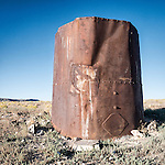 Rusting water tank and troughs, Lunar Cuesta, Nev.