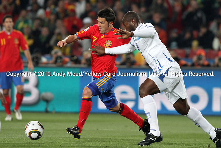 21 JUN 2010: David Villa (ESP) (7) and David Suazo (HON) (11). The Spain National Team defeated the Honduras National Team 2-0 at Ellis Park Stadium in Johannesburg, South Africa in a 2010 FIFA World Cup Group H match.