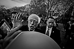 March 31, 2016. Democratic Presidential Candidate Senator Bernie Sanders speaks at a rally at St. Mary's Park in the Bronx borough March 31, 2016 in New York City. Before April 5 primary in New York.<br /> Photo by Yunghi Kim/Contact Press Images.