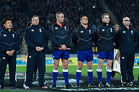 The match officials during the national anthems for the Steinlager Series international rugby match between the New Zealand All Blacks and France at Eden Park in Auckland, New Zealand on Saturday, 9 June 2018. Photo: Dave Lintott / lintottphoto.co.nz
