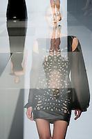 Modelle presentano le creazioni della collezione Autunno/Inverno 2013-2014 dello stilista libanese Tony Ward durante la rassegna Altaroma a Roma, 9 Luglio 2013.<br /> Models wear creations of Lebanese fashion designer Tony Ward Fall/Winter 2013/2014 during the Altaroma fashion week in Rome, 9 July 2013.<br /> UPDATE IMAGES PRESS/Virginia Farneti<br />  <br /> IN-CAMERA MULTIPLE EXPOSURE MODE WAS USED TO CREATE THE PICTURE