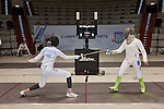 30.7.2015, Berlin Olympic Park. Competitions during the 14th European Maccabi Games. Fencing practice, US fencers Marina Bochenkova (left) and Alexis Browne (right with green stockings). Browne finishes 3. place in sabre fencing competitions.