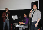 """Leo Ash Evans, Devin Haw (musical director), Zachary Prince sang """"Stand By Me/I'll Be There for You/Lean On Me""""  at the 4th Annual Curtains Up for a Cure benefitting Huntington's Disease Society of America on January 31, 2011 at Village Cinema East, New York City, New York. (Photo by Sue Coflin/Max Photos)"""