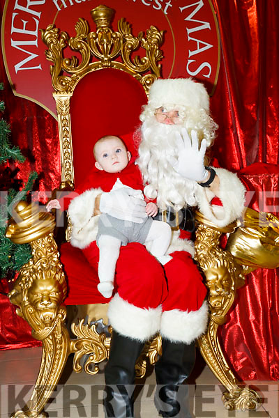 Santa Arriving On Saturday At Manor West Retail Centre. Pictured Emma O'Sullivan with Santa