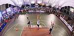 Huang (R) of Taiwan plays against Tsai (L) of Taiwan during the Red Bull King of the Rock National Finals at Kaohsiung University basketball court, Kaohsiung, Taiwan, on July 18th 2015.