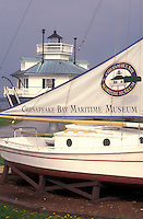 AJ1109, Maryland, Chesapeake Bay Maritime Museum, St. Michaels, Historic boat display and Hooper Strait Lighthouse at the Chesapeake Bay Maritime Museum in St. Michaels on the Chesapeake Bay in Maryland.