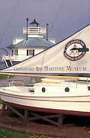 AJ1109, Maryland, Chesapeake Bay Maritime Museum, St. Michaels, Historic boat display and Hooper Strait Lighthouse at the Chesapeake Bay Maritime Museum in St. Michaels on the Chesapeake Bay in Maryland.