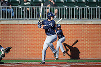 Nate Monastra (15) of the Xavier Musketeers at bat against the Charlotte 49ers at Hayes Stadium on March 3, 2017 in Charlotte, North Carolina.  The 49ers defeated the Musketeers 2-1.  (Brian Westerholt/Four Seam Images)