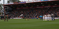 Soldiers and players attend the pre march remembrance with 1 minute silence to mark the 100th anniversary of the end of the Great War (WW1)<br /> <br /> Photographer David Horton/CameraSport<br /> <br /> The Premier League - Bournemouth v Manchester United - Saturday 3rd November 2018 - Vitality Stadium - Bournemouth<br /> <br /> World Copyright &copy; 2018 CameraSport. All rights reserved. 43 Linden Ave. Countesthorpe. Leicester. England. LE8 5PG - Tel: +44 (0) 116 277 4147 - admin@camerasport.com - www.camerasport.com