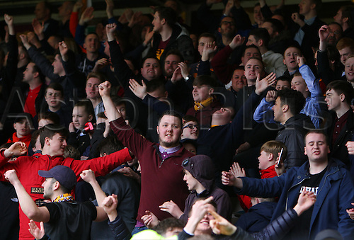 09.04.2016. Fir Park, Motherwell, Scotland. Scottish Football Premiership Motherwell versus Celtic. Motherwell fans celebrate their equaliser