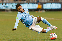 Melbourne, 21 July 2015 - Raheem Sterling of Manchester City slips over running with the ball in game two of the International Champions Cup match at the Melbourne Cricket Ground, Australia. City def Roma 5-4 in Penalties. (Photo Sydney Low / AsteriskImages.com)