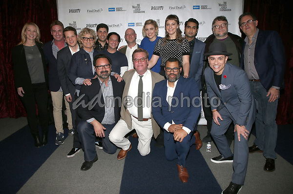 "01 February 2018 - Beverly Hills, California - Vanessa Taylor, Steven Rogers, Graham Moore, Claudia Eller, Michael H. Weber, Scott Neustadter, Michael Green, Greta Gerwig, Emily V. Gordon, Kumail Nanjiani, Guillermo Del Toro, David A. Goodman, James Mangold, Aaron Sorkin, Jordan Peele and Virgil Williams. 2018 Writers Guild ""Beyond Words"". Photo Credit: F. Sadou/AdMedia"