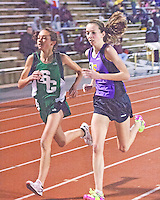 With just over two laps to go, Ste. Genevieve freshman Taylor Werner and Eureka sophomnore Hannah Long battle during the 3200 meter race at the Festus Tiger Town Track and Field Invitational, Tuesday, April 2, 2013, Festus, Mo. Werner out kicked Long to the finish to win in 10:25.88, while Long finished in 10:27.49. Both times put the pair in the top 10 nationally and just seconds behind the best all-time for a Missouri High School girl.