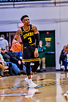 23 January 2019: UMBC Retriever Guard K.J. Jackson, a Junior from Houston, Texas, smiles in the final seconds of second half action against the University of Vermont Catamounts at Patrick Gymnasium in Burlington, Vermont. The Retrievers handed the Catamounts their first America East loss of the season 74-61. Mandatory Credit: Ed Wolfstein Photo *** RAW (NEF) Image File Available ***