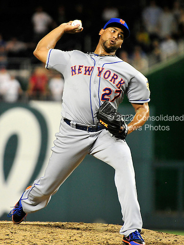 New York Mets Pedro Beato (27) works in the tenth inning against the Washington Nationals at Nationals Park in Washington, D.C. on Tuesday, July 17, 2012.  The Nationals won on Beato's wild pitch in 10 innings 5 - 4..Credit: Ron Sachs / CNP.(RESTRICTION: NO New York or New Jersey Newspapers or newspapers within a 75 mile radius of New York City)