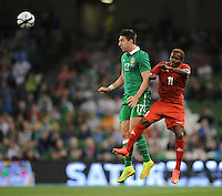 3rd September 2014; International Friendly, Republic of Ireland v Oman, Aviva Stadium, Dublin. <br /> Republic of Ireland's Stephen Ward and Qaseem Hardan of Oman<br /> Picture credit: Tommy Grealy/actionshots.ie.