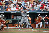 Justin Castro #2 of the UC Irvine Anteaters bats during Game 1 of the 2014 Men's College World Series between the UC Irvine Anteaters and Texas Longhorns at TD Ameritrade Park on June 14, 2014 in Omaha, Nebraska. (Brace Hemmelgarn/Four Seam Images)