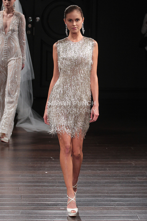 Model walks runway in a New Orleans bridal gown from the Naeem Khan Bridal Spring 2017 collection at 260 West 36 Street, during New York Bridal Fashion Week Spring Summer 2017 on April 16, 2016.