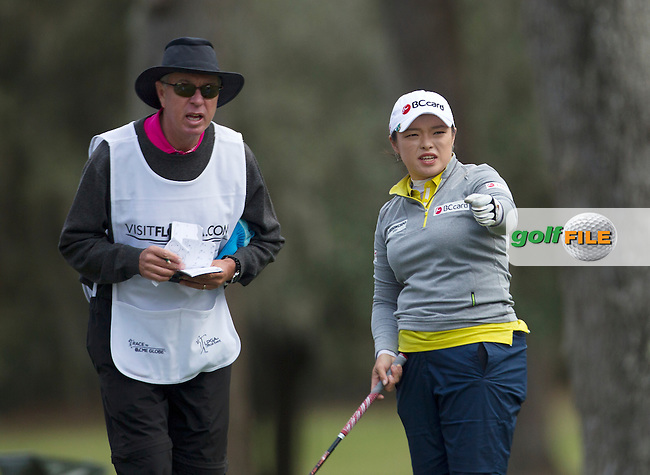 Hana Jang discusses with her Caddie her shot selection during the Second Day of the Third round of the LPGA Coates Golf Championship 2016 , from the Golden Ocala Golf and Equestrian Club, Ocala, Florida. 6/2/16<br /> Picture: Mark Davison | Golffile<br /> <br /> <br /> All photos usage must carry mandatory copyright credit (&copy; Golffile | Mark Davison)