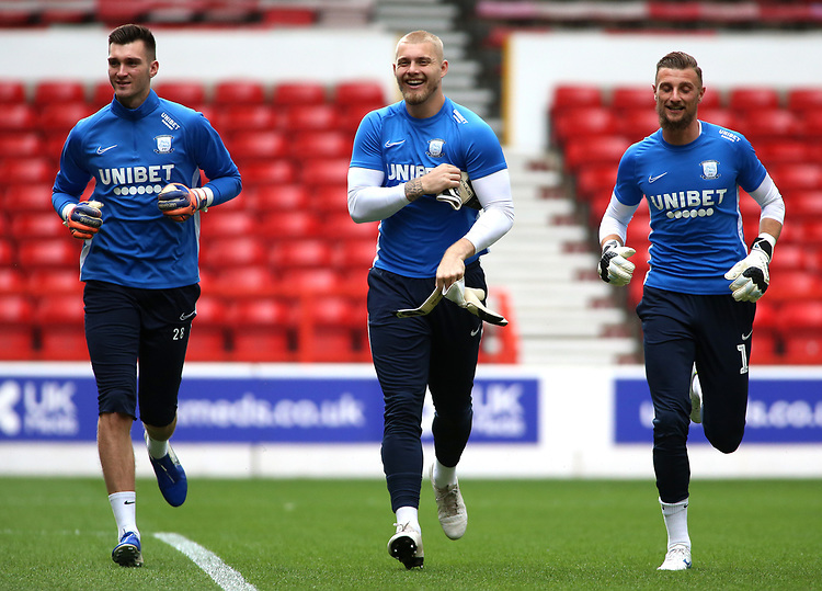 The Preston North End goalkeepers during the pre-match warm-up <br /> <br /> Photographer David Shipman/CameraSport<br /> <br /> The EFL Sky Bet Championship - Nottingham Forest v Preston North End - Saturday 31st August 2019 - The City Ground - Nottingham<br /> <br /> World Copyright © 2019 CameraSport. All rights reserved. 43 Linden Ave. Countesthorpe. Leicester. England. LE8 5PG - Tel: +44 (0) 116 277 4147 - admin@camerasport.com - www.camerasport.com