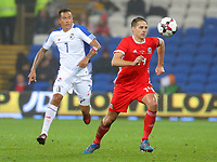 David Edwards of Wales (R) chased by Blas Perez of Panama during the international friendly soccer match between Wales and Panama at Cardiff City Stadium, Cardiff, Wales, UK. Tuesday 14 November 2017.