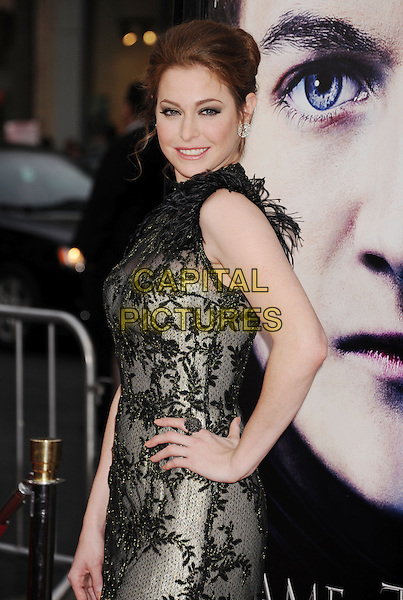 """Esme Bianco.""""Game Of Thrones"""" 3rd Season Los Angeles Premiere held at the TCL Chinese Theatre, Hollywood, California, USA..March 18th, 2013.half length dress grey gray hand on hip feathers lace black side .CAP/ROT/TM.©Tony Michaels/Roth Stock/Capital Pictures"""
