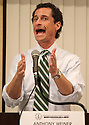Anthony Weiner speaks at mayoral forum on Tuesday, August 20, 2013 in Queens, New York. (AP Photo/ Donald Traill)