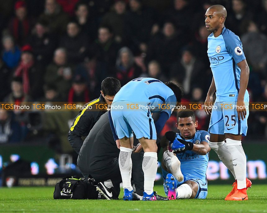 Injury concern for Gabriel Jesus of Manchester City during AFC Bournemouth vs Manchester City, Premier League Football at the Vitality Stadium on 13th February 2017