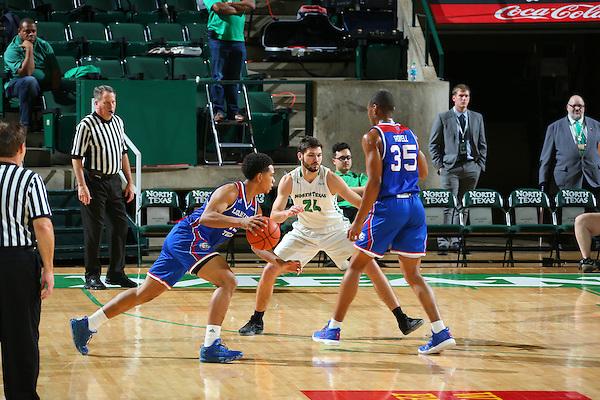 DENTON, TX - FEBRUARY: 23 Mean Green Mens Basketball v Louisiana Tech at Super Pit - North Texas Coliseum in Denton on February 23, 2016 in Denton, Texas. (Photo by Rick Yeatts)