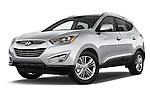 Stock pictures of low aggressive front three quarter view of a 2015 Hyundai Tucson SE Awd 5 Door Suv 2WD Low Aggressive