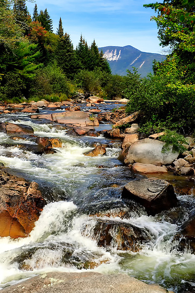 Nesowadnehunk Stream with a view of Mt OJI in Baxter State Park, Maine.