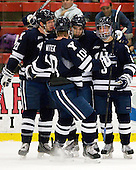 Colin Dueck (Yale - 21), Mitch Witek (Yale - 10), ?, Stu Wilson (Yale - 6) - The Yale University Bulldogs defeated the Harvard University Crimson 5-1 on Saturday, November 3, 2012, at Bright Hockey Center in Boston, Massachusetts.