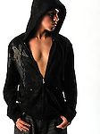 Chris Gomez, Black Hooded Sweat Jacket,