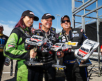 Sep 4, 2016; Clermont, IN, USA; NHRA funny car driver Alexis DeJoria (left) Tim Wilkerson (near) and John Force during qualifying for the US Nationals at Lucas Oil Raceway. Mandatory Credit: Mark J. Rebilas-USA TODAY Sports