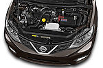 Car Stock 2015 Nissan Pulser Acenta 5 Door Hatchback 2WD Engine high angle detail view