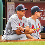 29 May 2016: St. Louis Cardinals Manager Mike Matheny watches play from the dugout during a game against the Washington Nationals at Nationals Park in Washington, DC. The Nationals defeated the Cardinals 10-2 to split their 4-game series. Mandatory Credit: Ed Wolfstein Photo *** RAW (NEF) Image File Available ***